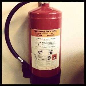 Etiketten på en brandsläckare